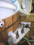 Wood tub plumbing